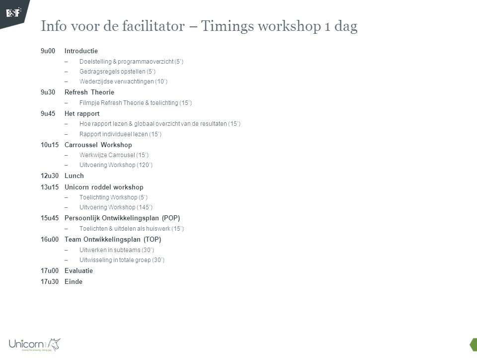 Info voor de facilitator – Timings workshop 1 dag