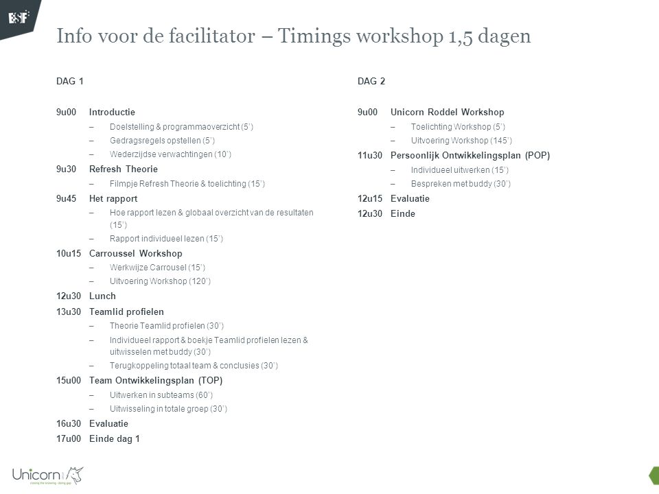 Info voor de facilitator – Timings workshop 1,5 dagen