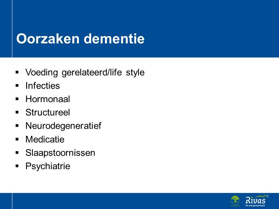 Oorzaken dementie Voeding gerelateerd/life style Infecties Hormonaal