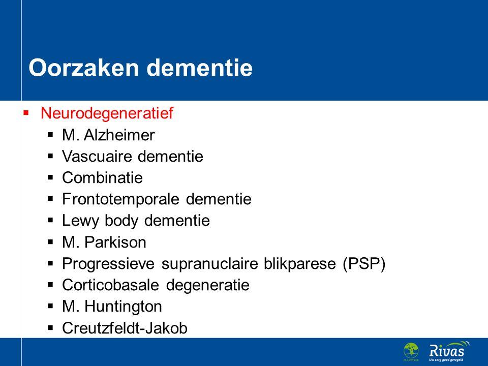 Oorzaken dementie Neurodegeneratief M. Alzheimer Vascuaire dementie