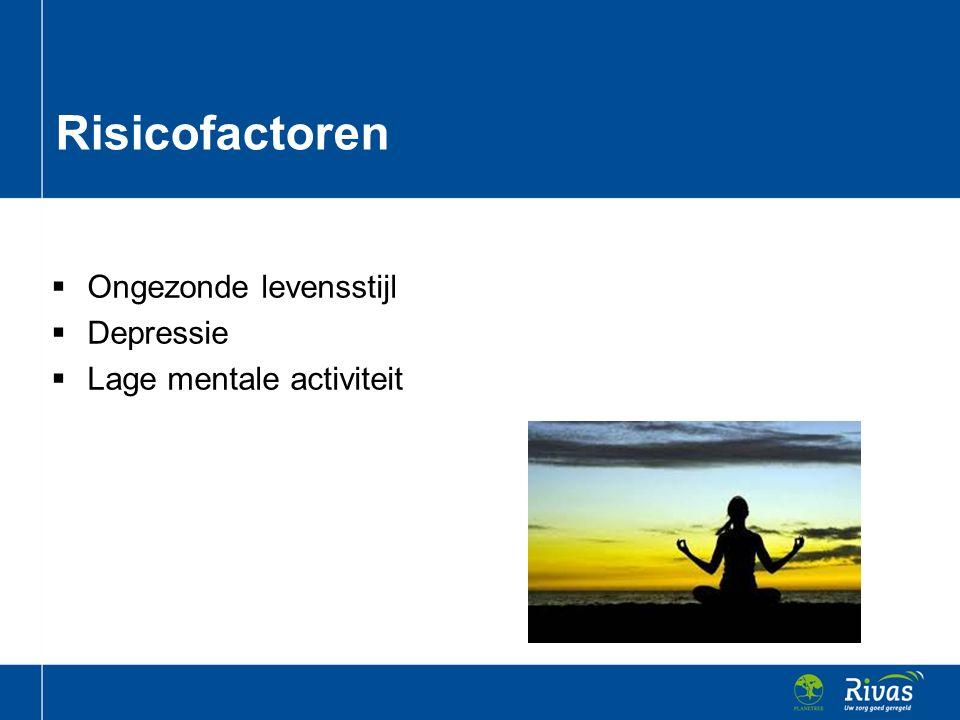 Risicofactoren Ongezonde levensstijl Depressie Lage mentale activiteit
