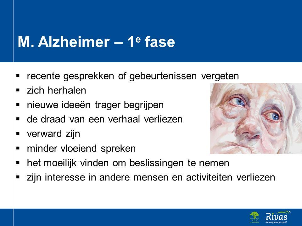 M. Alzheimer – 1e fase recente gesprekken of gebeurtenissen vergeten