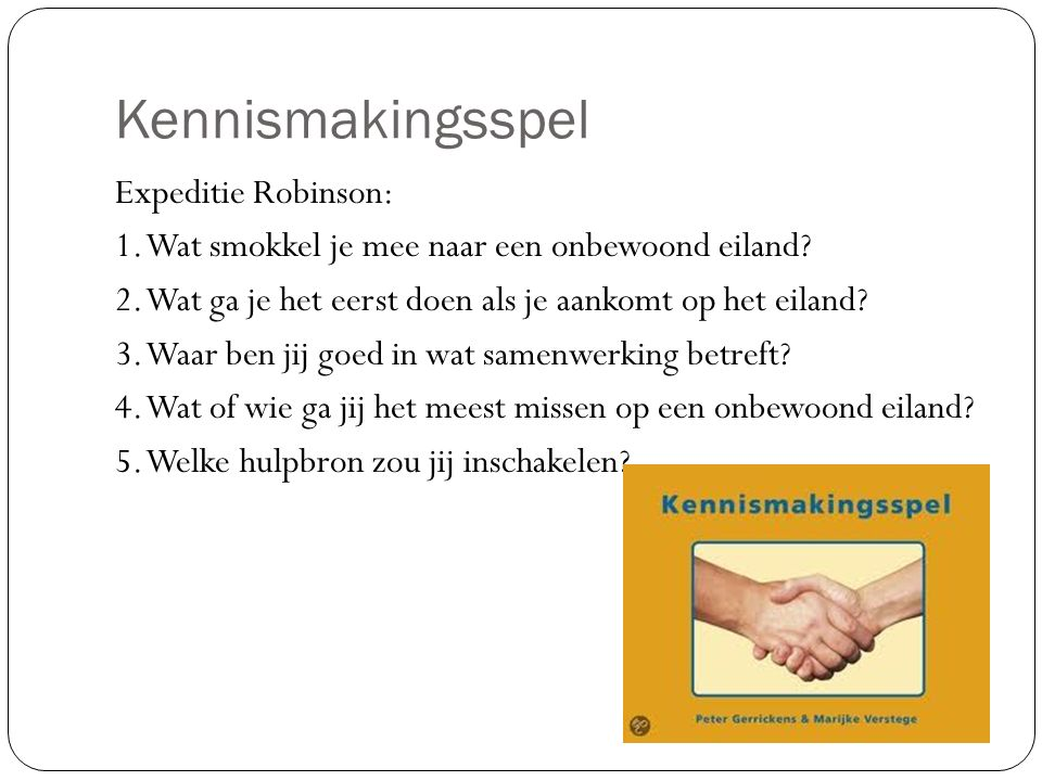 Kennismakingsspel Expeditie Robinson: