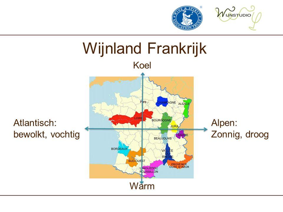 Wijnland Frankrijk Koel Atlantisch: bewolkt, vochtig Alpen: