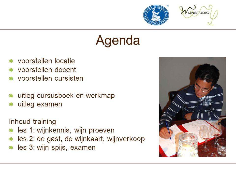 Agenda voorstellen locatie voorstellen docent voorstellen cursisten