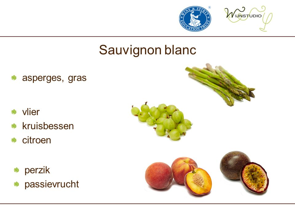 Sauvignon blanc asperges, gras vlier kruisbessen citroen perzik