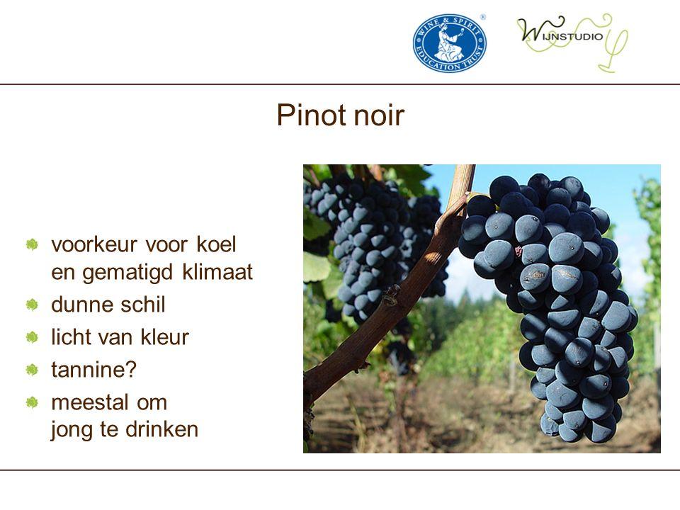 Pinot noir voorkeur voor koel en gematigd klimaat dunne schil