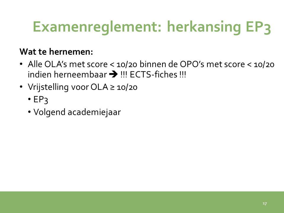 Examenreglement: herkansing EP3