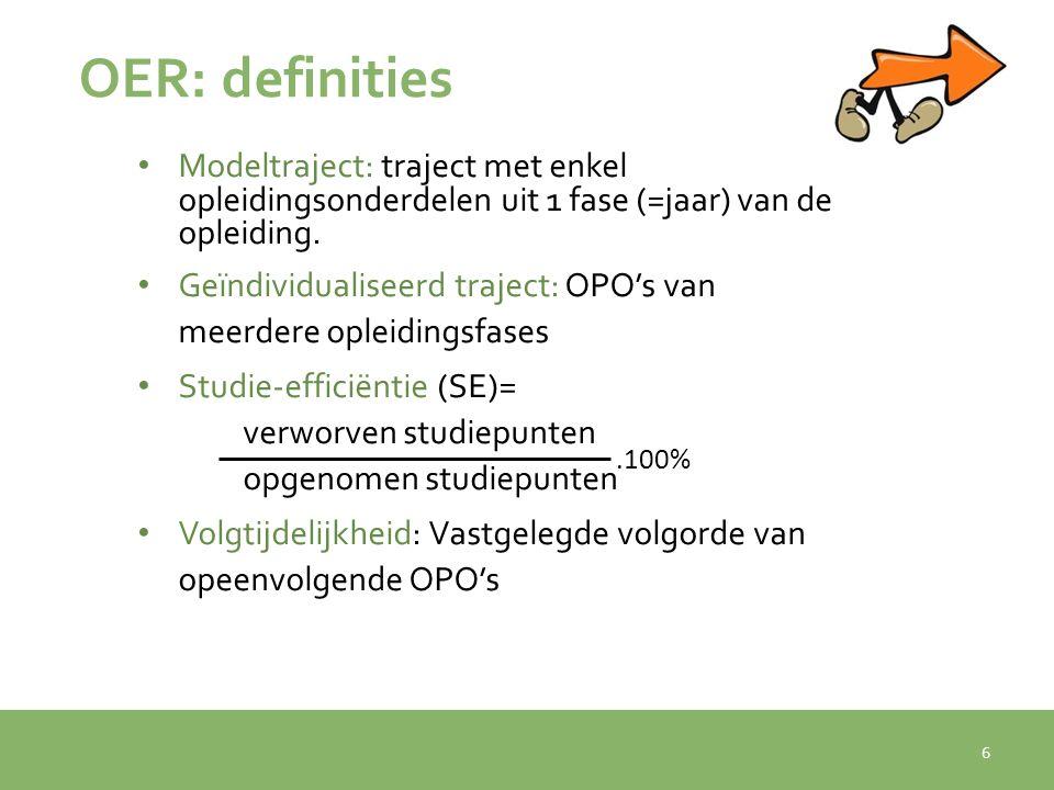 OER: definities Modeltraject: traject met enkel opleidingsonderdelen uit 1 fase (=jaar) van de opleiding.