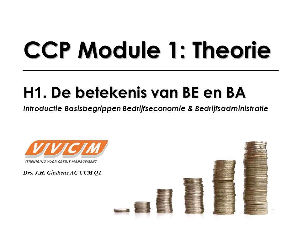 CCP Module 1: Theorie H1. De betekenis van BE en BA Introductie Basisbegrippen Bedrijfseconomie & Bedrijfsadministratie.