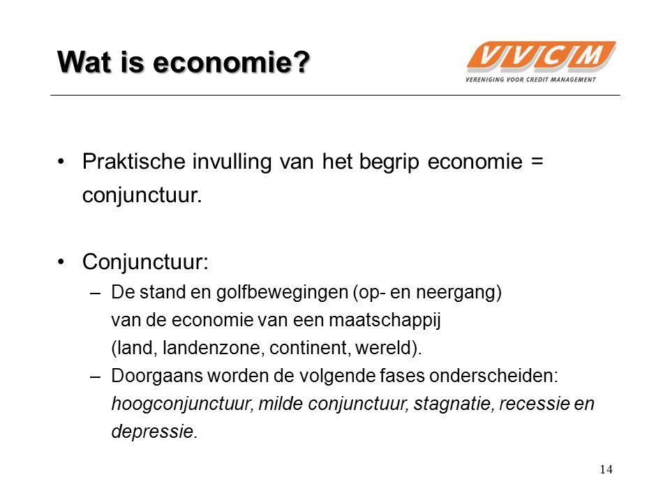 Wat is economie Praktische invulling van het begrip economie = conjunctuur. Conjunctuur: De stand en golfbewegingen (op- en neergang)