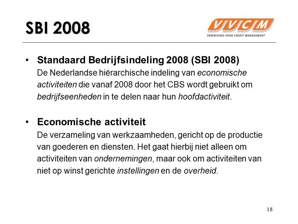 SBI 2008 Standaard Bedrijfsindeling 2008 (SBI 2008)