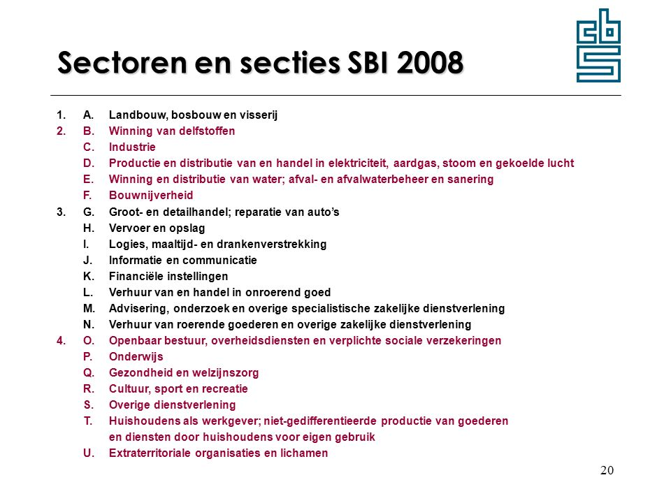 Sectoren en secties SBI 2008