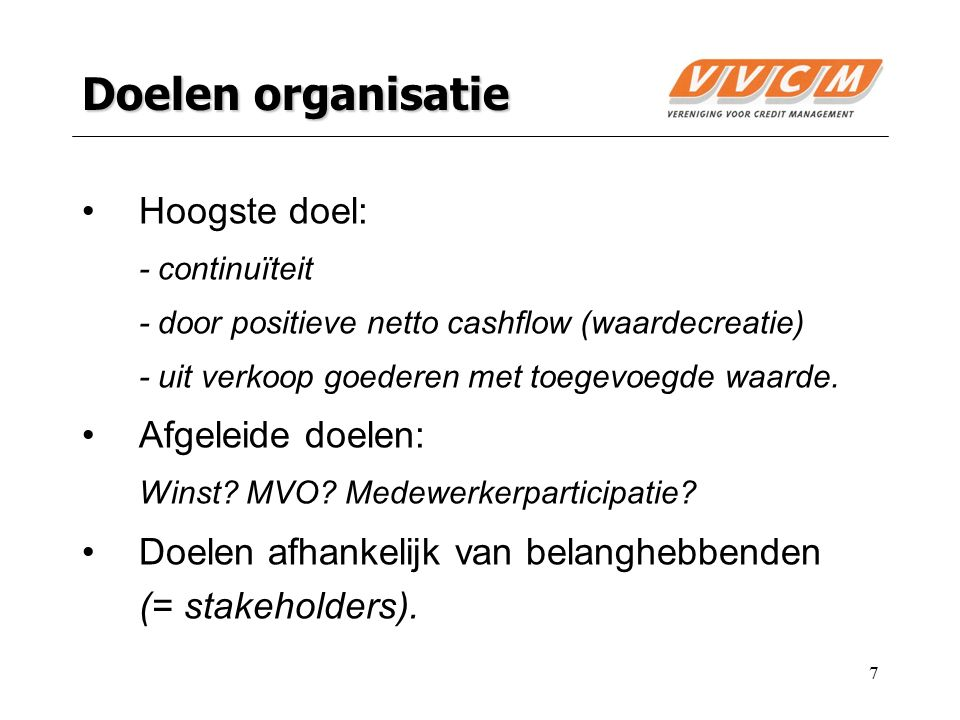 Doelen organisatie Hoogste doel: Afgeleide doelen: