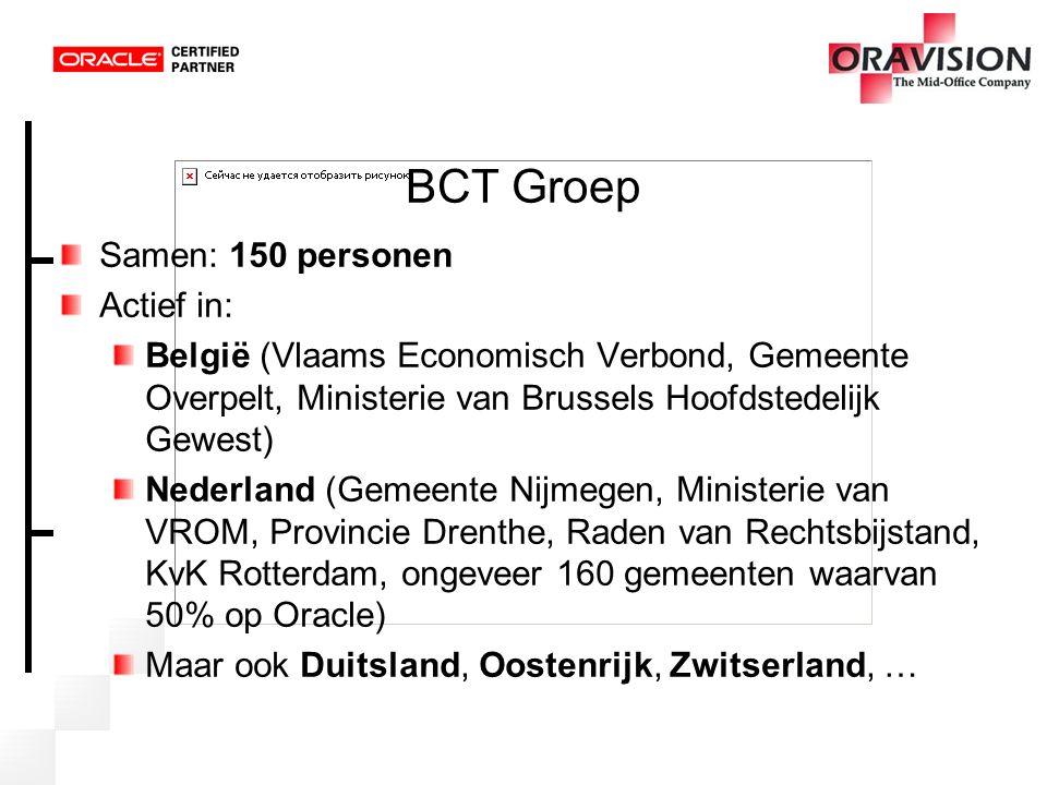BCT Groep Samen: 150 personen Actief in: