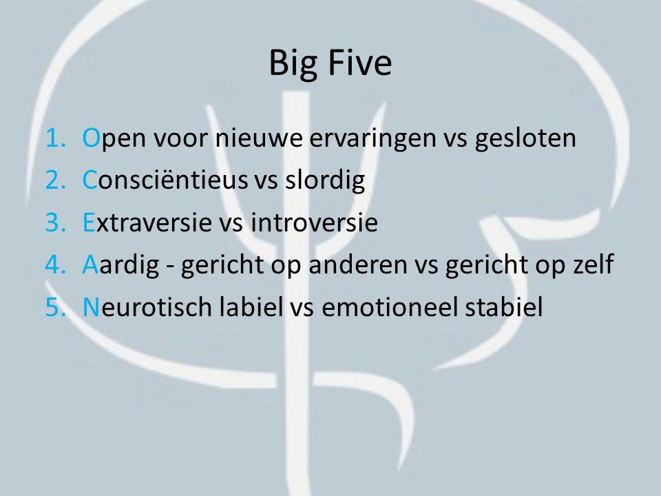 Big Five Open voor nieuwe ervaringen vs gesloten