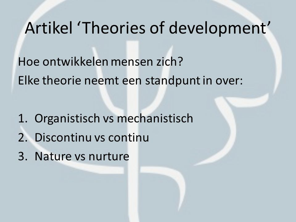 Artikel 'Theories of development'