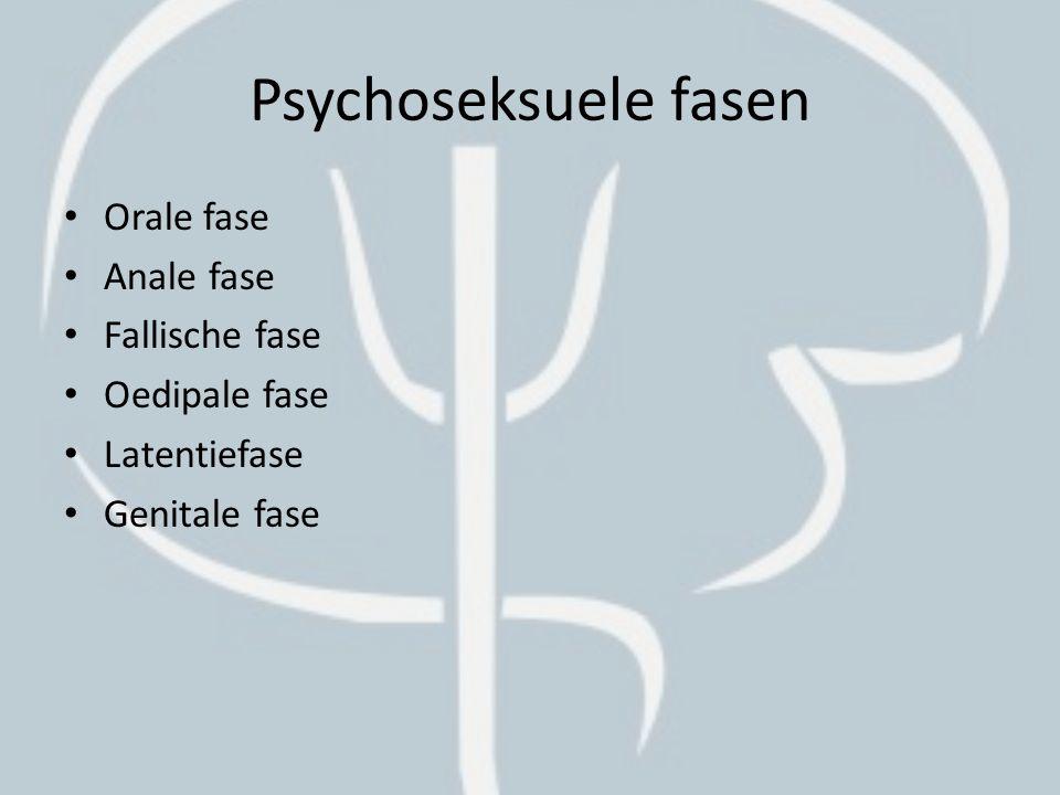 Psychoseksuele fasen Orale fase Anale fase Fallische fase