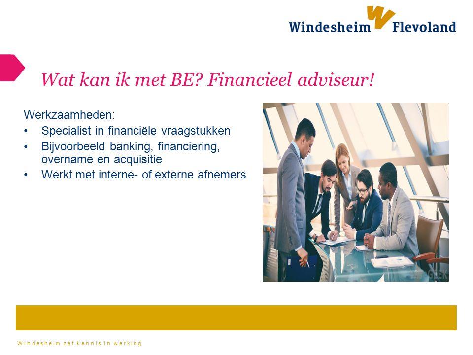 Wat kan ik met BE Financieel adviseur!