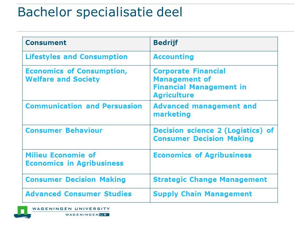 Bachelor specialisatie deel