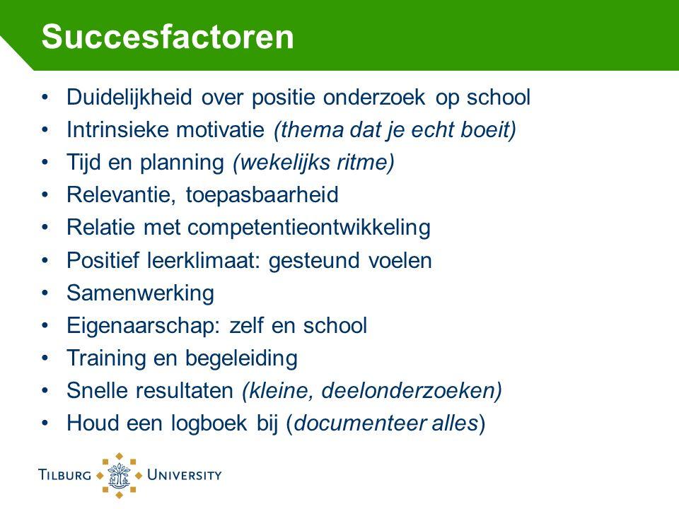 Succesfactoren Duidelijkheid over positie onderzoek op school