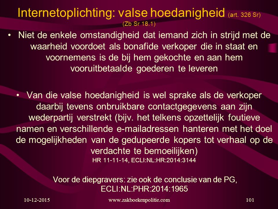 Internetoplichting: valse hoedanigheid (art. 326 Sr) (Zb Sr 18.1)