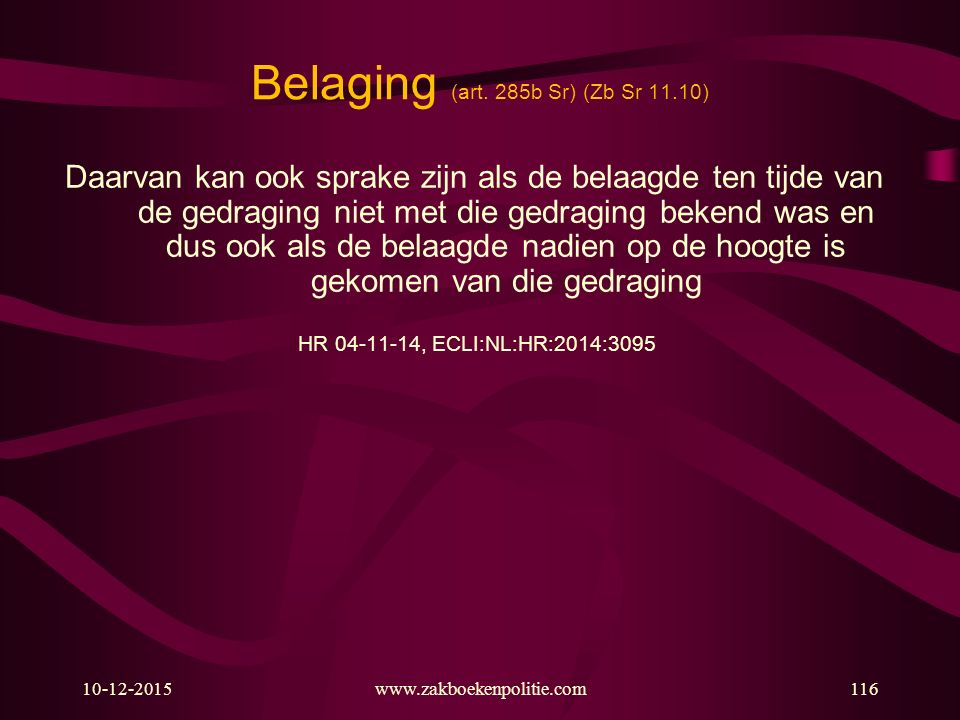 Belaging (art. 285b Sr) (Zb Sr 11.10)