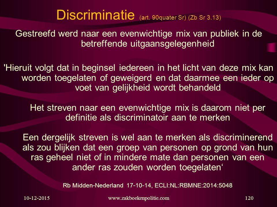 Discriminatie (art. 90quater Sr) (Zb Sr 3.13)