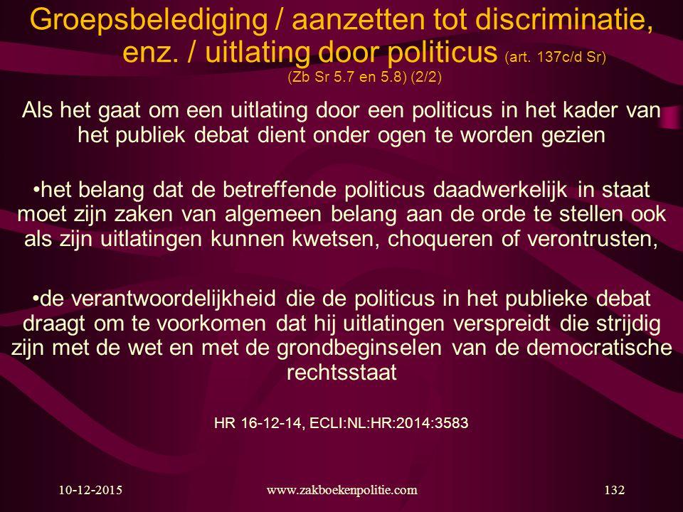 Groepsbelediging / aanzetten tot discriminatie, enz