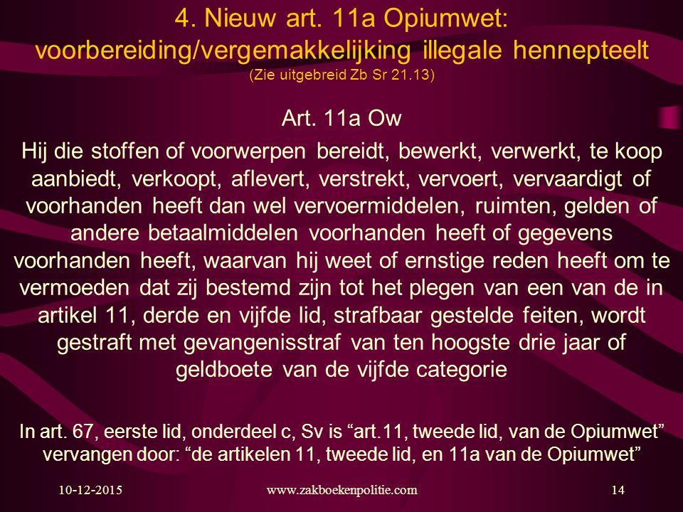 4. Nieuw art. 11a Opiumwet: voorbereiding/vergemakkelijking illegale hennepteelt (Zie uitgebreid Zb Sr 21.13)