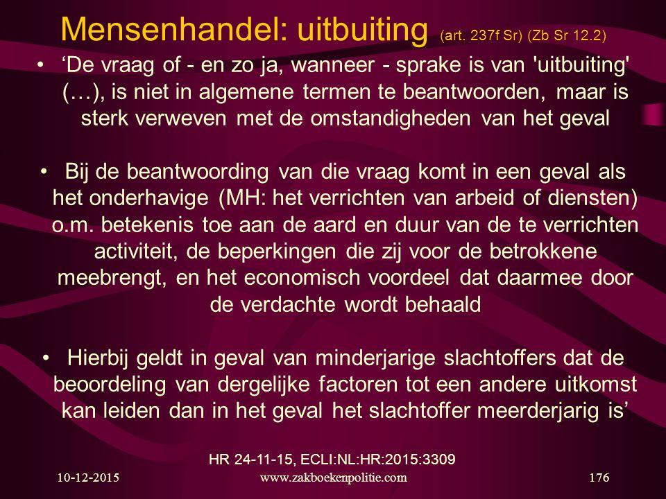 Mensenhandel: uitbuiting (art. 237f Sr) (Zb Sr 12.2)