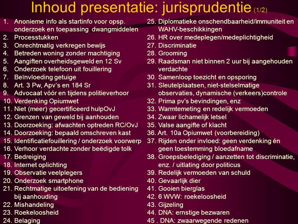 Inhoud presentatie: jurisprudentie (1/2)