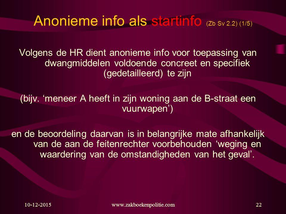 Anonieme info als startinfo (Zb Sv 2.2) (1/5)