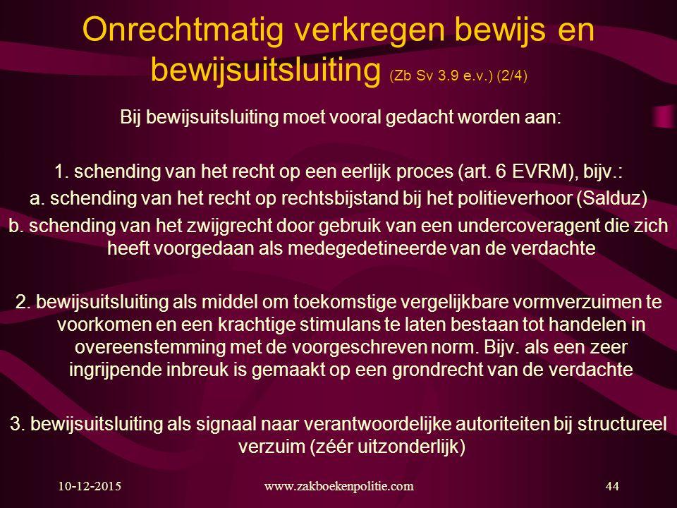 Onrechtmatig verkregen bewijs en bewijsuitsluiting (Zb Sv 3. 9 e. v