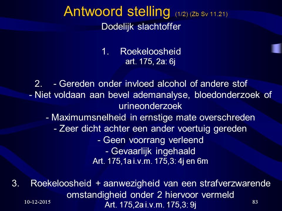 Antwoord stelling (1/2) (Zb Sv 11.21)