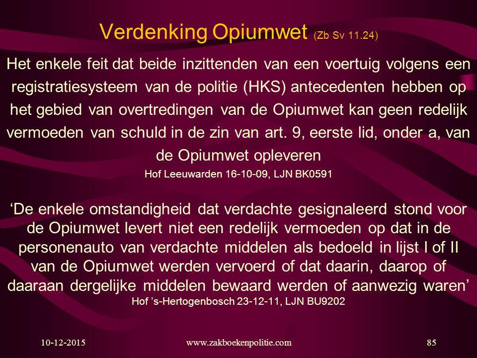 Verdenking Opiumwet (Zb Sv 11.24)