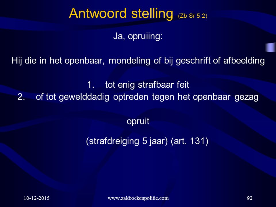 Antwoord stelling (Zb Sr 5.2)