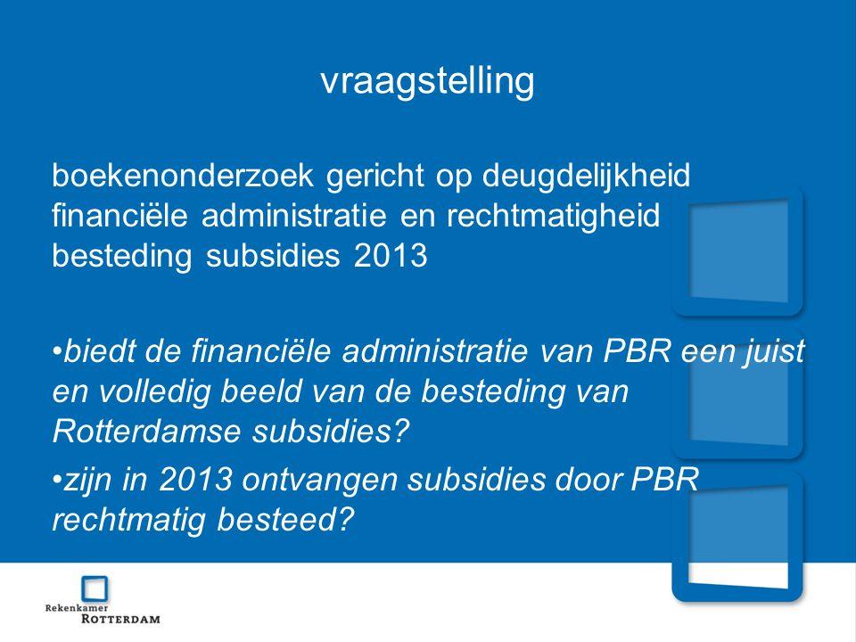 vraagstelling boekenonderzoek gericht op deugdelijkheid financiële administratie en rechtmatigheid besteding subsidies 2013.