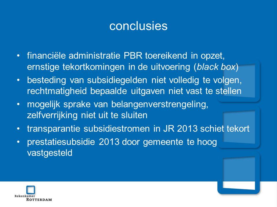 conclusies financiële administratie PBR toereikend in opzet, ernstige tekortkomingen in de uitvoering (black box)