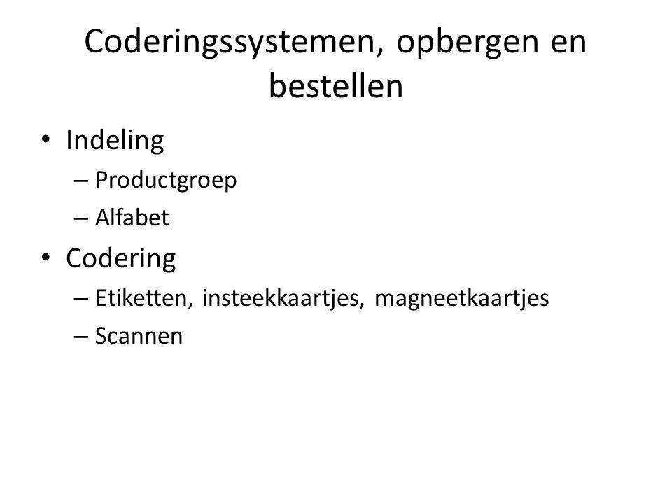 Coderingssystemen, opbergen en bestellen