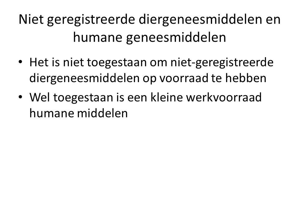 Niet geregistreerde diergeneesmiddelen en humane geneesmiddelen