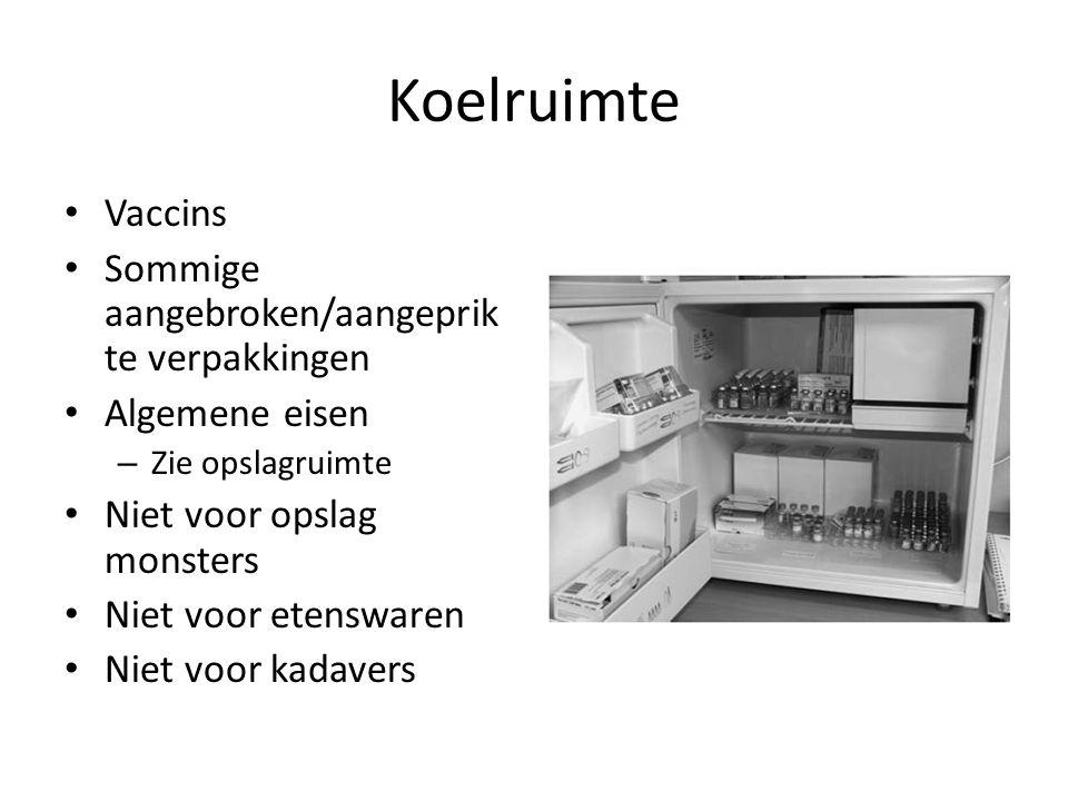 Koelruimte Vaccins Sommige aangebroken/aangeprikte verpakkingen