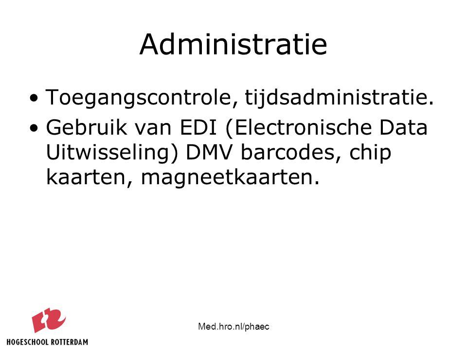 Administratie Toegangscontrole, tijdsadministratie.