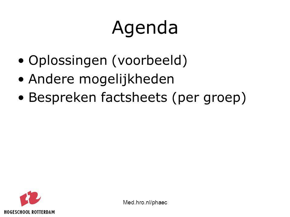 Agenda Oplossingen (voorbeeld) Andere mogelijkheden