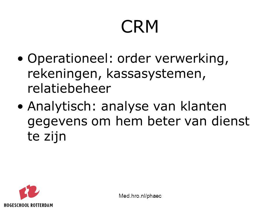 CRM Operationeel: order verwerking, rekeningen, kassasystemen, relatiebeheer.
