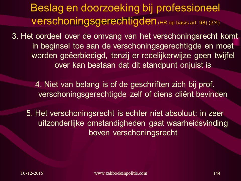 Beslag en doorzoeking bij professioneel verschoningsgerechtigden (HR op basis art. 98) (2/4)