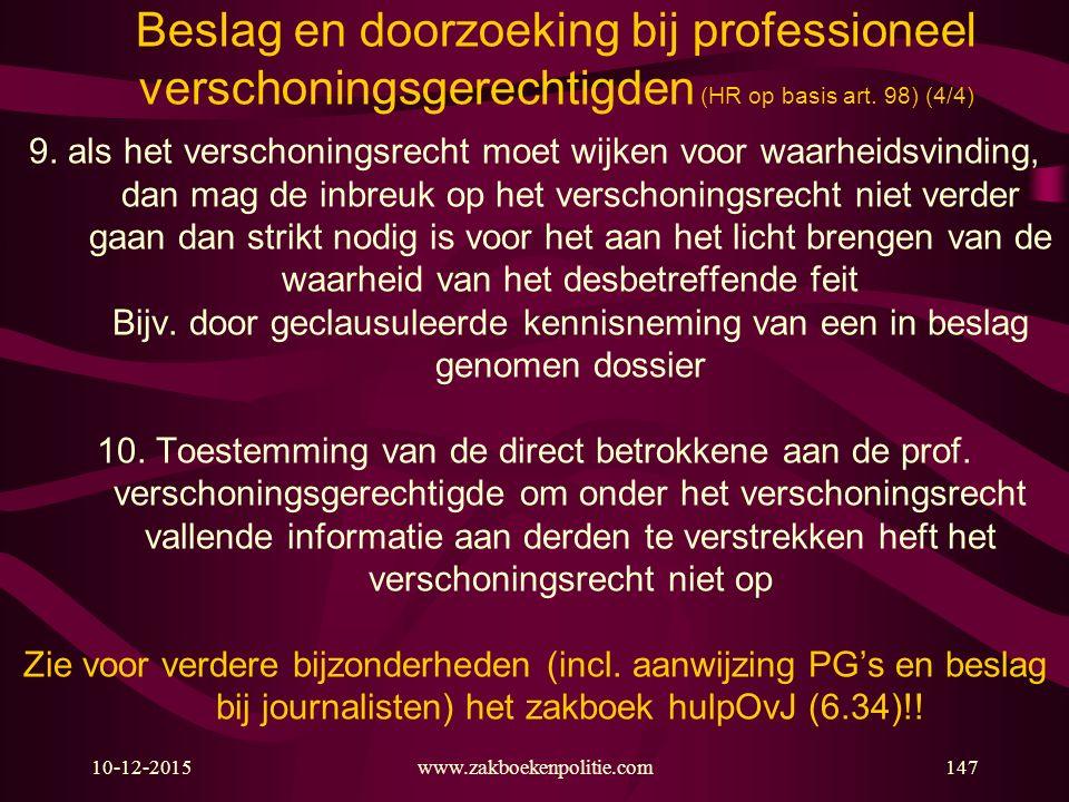Beslag en doorzoeking bij professioneel verschoningsgerechtigden (HR op basis art. 98) (4/4)