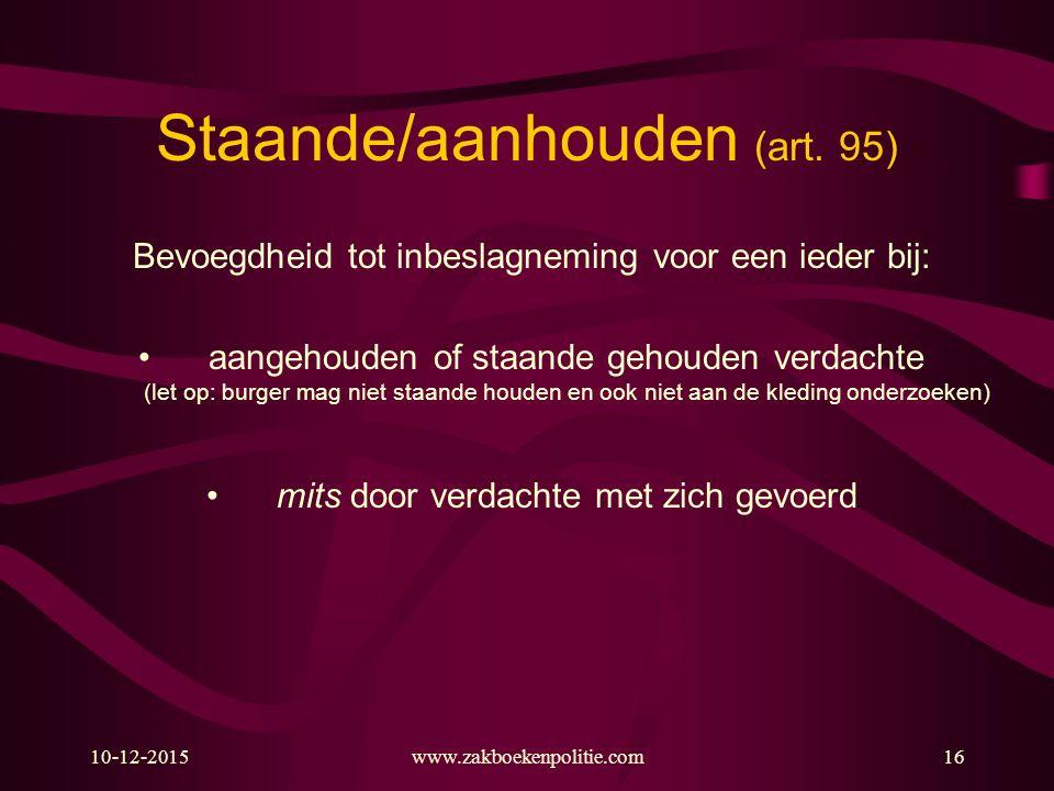 Staande/aanhouden (art. 95)