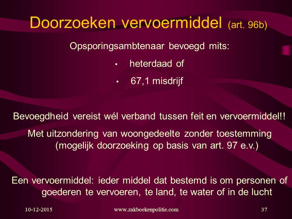 Doorzoeken vervoermiddel (art. 96b)