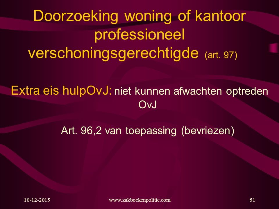 Doorzoeking woning of kantoor professioneel verschoningsgerechtigde (art. 97)
